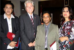 The Honourable, Mike Colle, Minister of Citizenship & Immigration with President of Association for Canadians of Pakistani Origin, Yasmine Khan